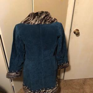 Margaret Godfrey teal suede embellished coat